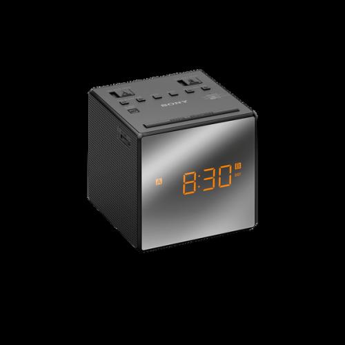 ICFC1TB: Radiobudzik AM/FM z wyświetlaczem wykończonym na wysoki połysk i podwójnym budzikiem