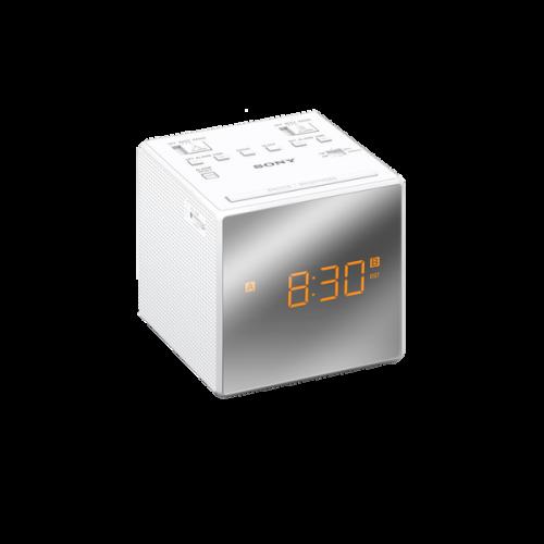ICFC1TW: Radiobudzik AM/FM z wyświetlaczem wykończonym na wysoki połysk i podwójnym budzikiem